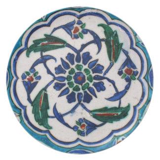 Blue and white floral Ottoman era tile design Plate
