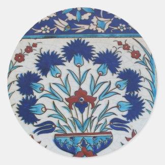 Blue and white floral Ottoman era tile design Stickers