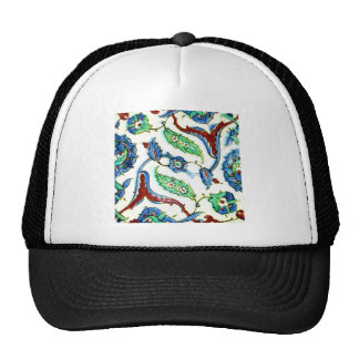 Blue and white floral Ottoman era tile design Trucker Hat