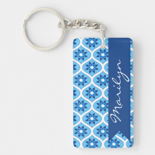 Blue and White Floral Pattern Double-Sided Rectangular Acrylic Keychain