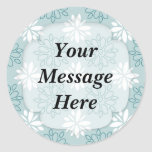 Blue and White Floral Pattern Round Stickers