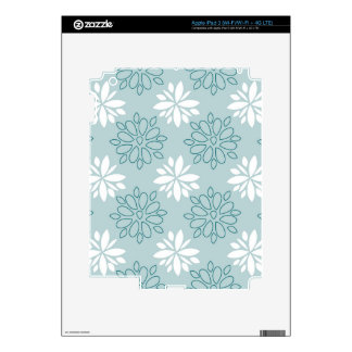 Blue and White Floral Pattern Skin For iPad 3