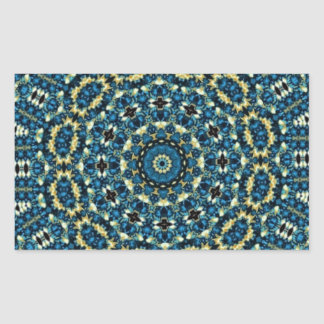 Blue And White Floral Pattern Rectangle Stickers