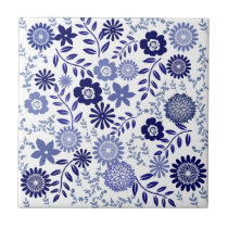 Blue and White Floral Pattern Tile