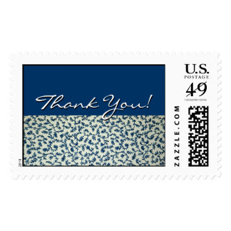 """Blue and White Floral """"Thank You!"""" Postage - Large"""