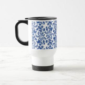 Blue and White Floral Travel Mug