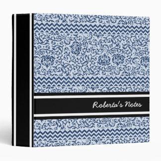 Blue and White Floral Tudor Damask Vintage Style 3 Ring Binder