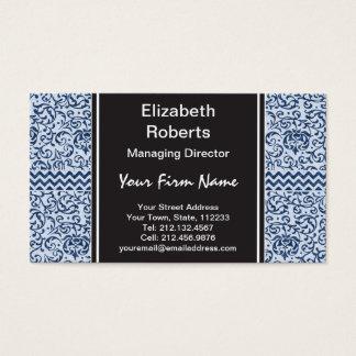 Blue and White Floral Tudor Damask Vintage Style Business Card