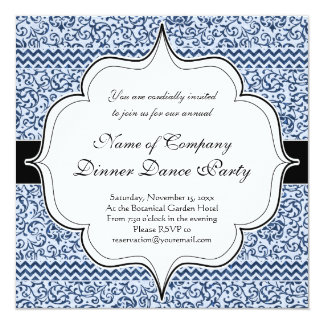 Blue and White Floral Tudor Damask Vintage Style Card