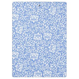 Blue and White Floral Tudor Damask Vintage Style Clipboard