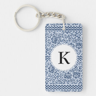 Blue and White Floral Tudor Damask Vintage Style Keychain