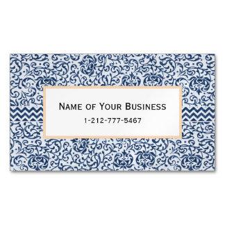Blue and White Floral Tudor Damask Vintage Style Magnetic Business Card