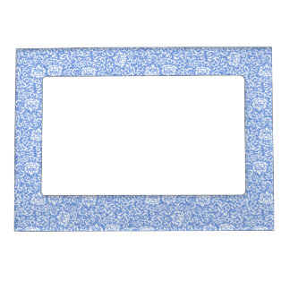 Blue and White Floral Tudor Damask Vintage Style Magnetic Picture Frame