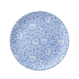 Blue and White Floral Tudor Damask Vintage Style Porcelain Plate