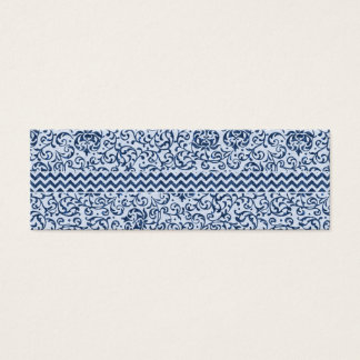 Blue and White Floral Tudor Damask Vintage Style Mini Business Card