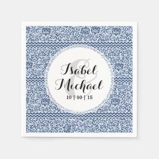 Blue and White Floral Tudor Damask Vintage Style Paper Napkin