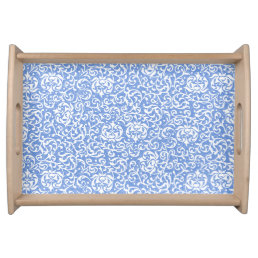 Blue and White Floral Tudor Damask Vintage Style Serving Tray