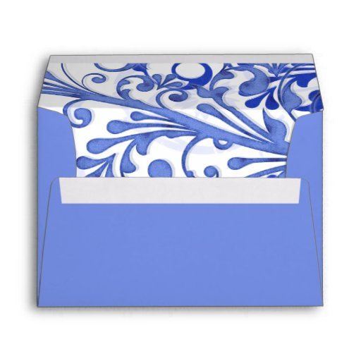 Blue and White Floral Wedding A-7 Envelopes
