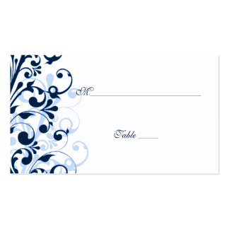 Blue and White Floral Wedding Place Cards Double-Sided Standard Business Cards (Pack Of 100)
