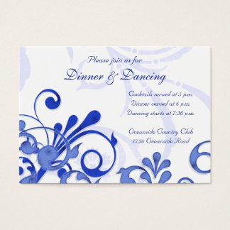 Blue and White Floral Wedding Reception Card