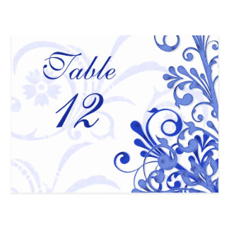 Blue and White Floral Wedding Table Cards