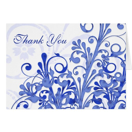 Blue and White Floral Wedding Thank You Card