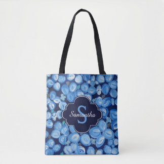 Blue and White Floral With Monogram Tote Bag