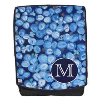 Blue And White Floral With White Initials Backpack