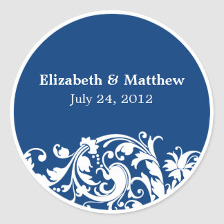Blue and White Flourish Swirl Wedding Favor Label