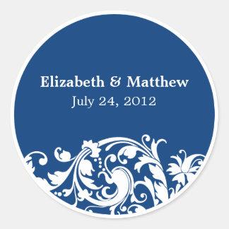 Blue and White Flourish Swirl Wedding Favor Label Classic Round Sticker