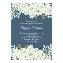 Blue and White Flower Baby Shower Card