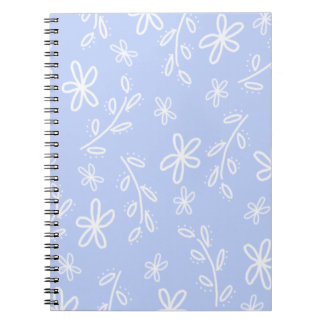 Blue and White Flower Doodle Pattern Note Book