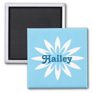 Blue and white flower monogram magnet