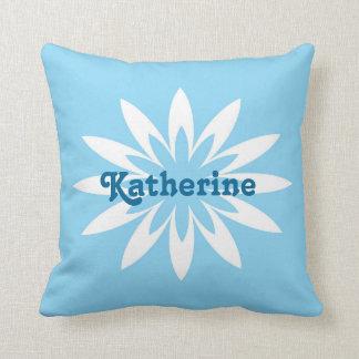 Blue and white flower monogram pillow