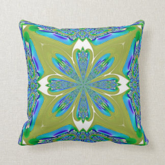 Blue and White Flower on Pea Green American MoJo P Throw Pillow