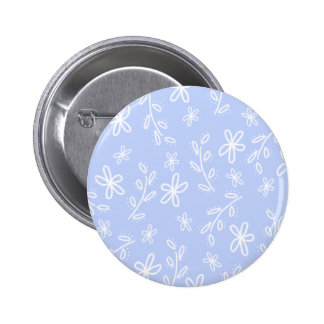 Blue and White Flower Pattern Button