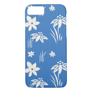 Blue and white flower pattern iPhone 7 case