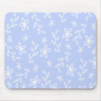 Blue and White Flower Pattern Mousepad