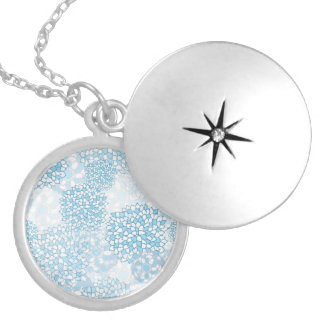 Blue and White Flower Pattern Round Locket Necklace