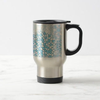 Blue and White Flower Pattern Travel Mug
