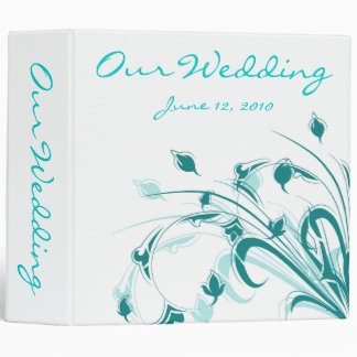 Blue and White Flowers Vinyl Binder