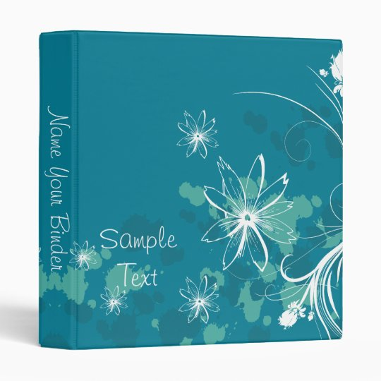 Blue and White Flowers Binder