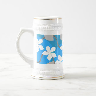 Blue and White Flowers. Floral Pattern. Beer Stein