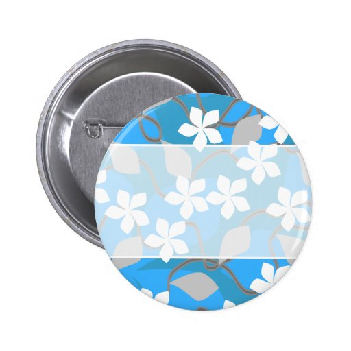 Blue and White Flowers. Floral Pattern. Buttons