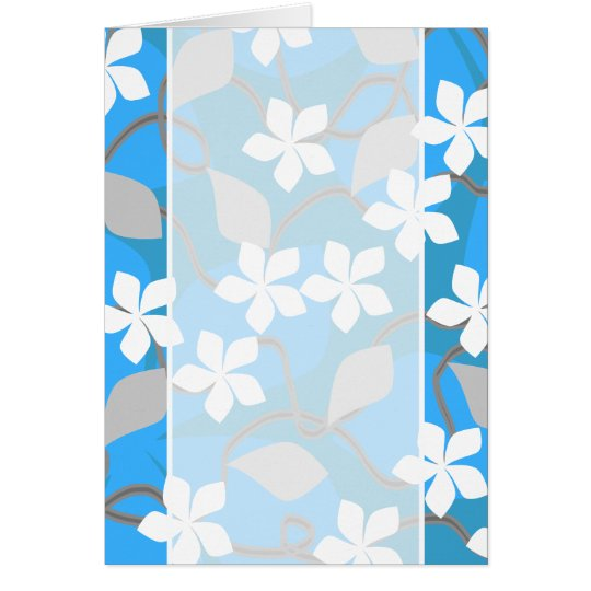 Blue and White Flowers. Floral Pattern. Card