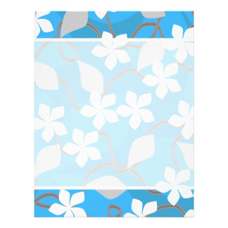Blue and White Flowers. Floral Pattern. Flyer