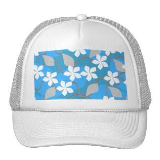 Blue and White Flowers. Floral Pattern. Mesh Hat