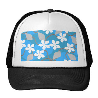 Blue and White Flowers. Floral Pattern. Hats