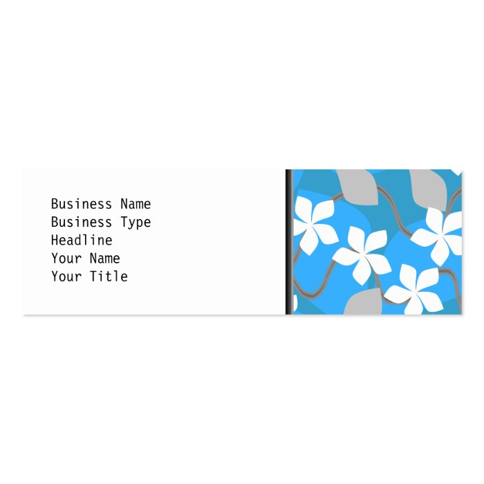 Blue and White Flowers. Floral Pattern. Mini Business Card