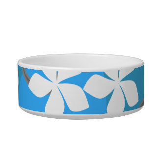Blue and White Flowers. Floral Pattern. Cat Water Bowls